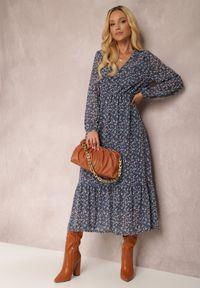Renee - Granatowa Sukienka Erasakos. Kolor: niebieski. Wzór: kwiaty, aplikacja. Długość: maxi #1