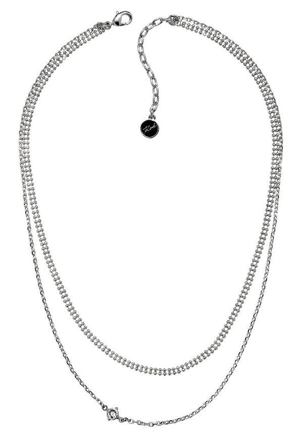 Srebrny naszyjnik Karl Lagerfeld metalowy, z aplikacjami, z kryształem