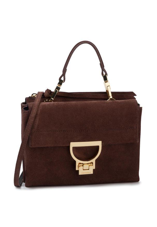 Brązowa torebka klasyczna Coccinelle klasyczna, zamszowa