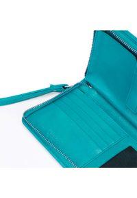 Wittchen - Damski portfel skórzany z kieszenią na telefon. Kolor: turkusowy. Materiał: skóra