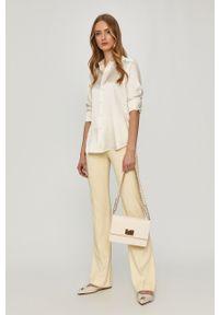 Kremowa koszula Polo Ralph Lauren gładkie, długa, polo, casualowa