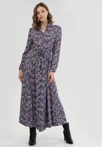 Born2be - Granatowo-Fioletowa Sukienka Adrearith. Kolor: niebieski. Materiał: materiał. Długość rękawa: długi rękaw. Wzór: kwiaty. Długość: maxi