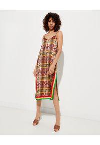 PALM ANGELS - Sukienka w kratę. Kolor: brązowy. Materiał: materiał. Długość rękawa: na ramiączkach. Wzór: kolorowy, nadruk, aplikacja. Długość: midi