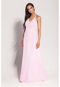 Różowa sukienka na imprezę Dursi elegancka, maxi