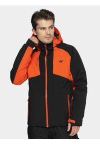 Pomarańczowa kurtka narciarska 4f z kapturem, na zimę