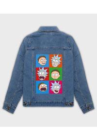 MegaKoszulki - Kurtka jeansowa damska Emocje Rick and Morty. Materiał: jeans. Wzór: nadruk. Sezon: wiosna. Styl: klasyczny