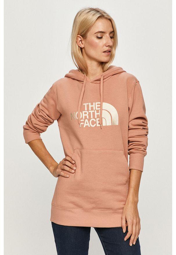 Różowa bluza The North Face casualowa, z kapturem, na co dzień, z aplikacjami