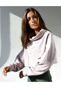 CONTROLOGY - Różowa bluza Recovery. Typ kołnierza: golf. Kolor: różowy, wielokolorowy, fioletowy. Materiał: bawełna. Długość: długie. Wzór: napisy, haft, aplikacja