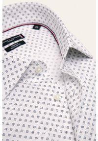 Biała koszula Tommy Hilfiger Tailored długa, z włoskim kołnierzykiem, elegancka