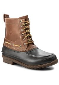 Brązowe buty zimowe Sperry eleganckie, z cholewką