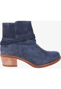 Casu - Niebieskie botki kowbojki polska skóra casu ds-520-314. Kolor: niebieski. Materiał: skóra