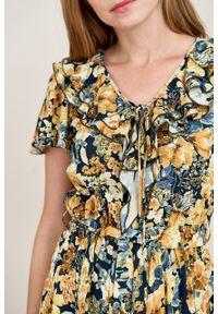 Marie Zélie - Sukienka Eulalia Caneton granatowa. Kolor: niebieski. Materiał: wiskoza. Długość rękawa: krótki rękaw. Długość: midi