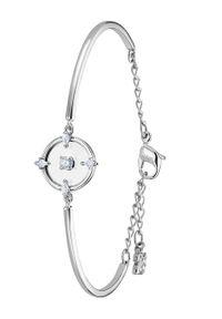 Srebrna bransoletka Swarovski z aplikacjami, metalowa