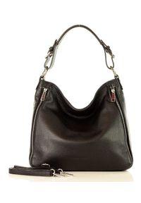 Czarna torebka klasyczna skórzana, na ramię