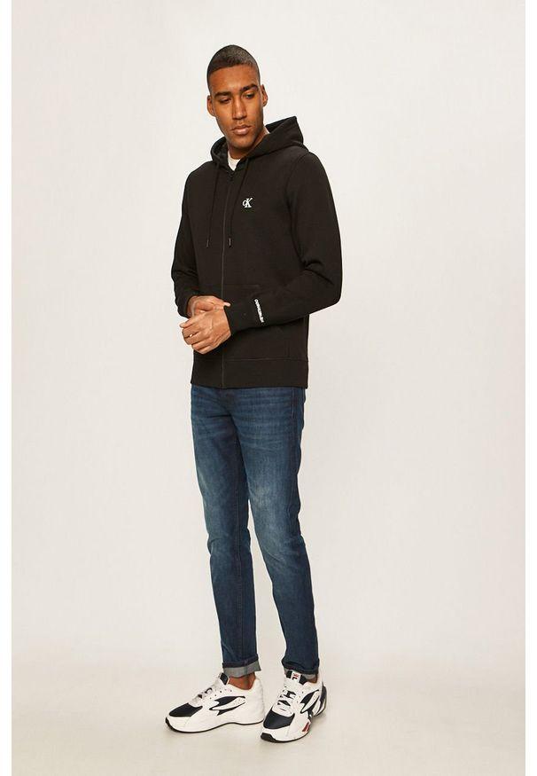 Czarna bluza rozpinana Calvin Klein Jeans casualowa, na co dzień, z kapturem
