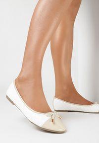 Born2be - Beżowo-Białe Balerinki Cirilyse. Nosek buta: okrągły. Zapięcie: pasek. Kolor: beżowy. Szerokość cholewki: normalna. Wzór: aplikacja. Materiał: lakier. Obcas: na obcasie. Styl: klasyczny, elegancki. Wysokość obcasa: niski