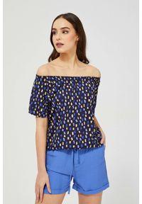MOODO - Bawełniana bluzka z nadrukiem. Materiał: bawełna. Długość rękawa: krótki rękaw. Długość: krótkie. Wzór: nadruk