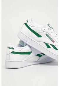 Białe sneakersy Reebok Classic z cholewką, z okrągłym noskiem, na sznurówki