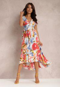 Renee - Niebieska Sukienka Yegetohn. Kolor: niebieski. Materiał: tkanina. Długość rękawa: na ramiączkach. Wzór: jednolity, kolorowy. Typ sukienki: asymetryczne, rozkloszowane. Długość: midi