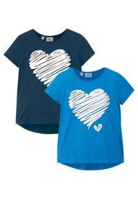 T-shirt dziewczęcy (2 szt.) bonprix ciemnoniebieski + niebieski lodowy. Kolor: niebieski. Długość: długie. Wzór: nadruk
