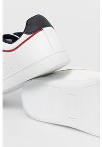 Białe sneakersy U.S. Polo Assn na sznurówki, z okrągłym noskiem