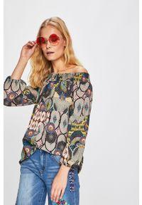 Wielokolorowa bluzka Desigual z dekoltem typu hiszpanka, na co dzień, długa, casualowa