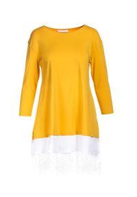 Born2be - Żółta Sukienka Khusea. Okazja: na co dzień. Kolor: żółty. Materiał: dzianina, koronka. Długość rękawa: krótki rękaw. Wzór: koronka, ażurowy. Typ sukienki: proste, oversize. Styl: casual. Długość: mini