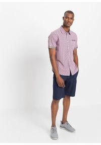 Koszula z krótkim rękawem bonprix jeżynowo-biały w kratę. Kolor: fioletowy. Długość rękawa: krótki rękaw. Długość: krótkie