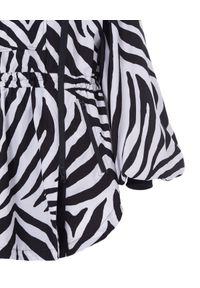 REDEMPTION ATHLETIX - Parka z kapturem w zebrę. Typ kołnierza: kaptur. Kolor: czarny. Materiał: poliester. Długość: długie. Wzór: motyw zwierzęcy. Styl: sportowy