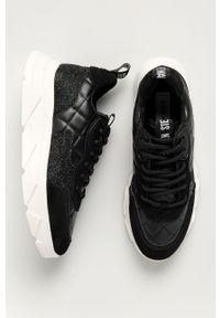 Czarne buty sportowe Steve Madden z okrągłym noskiem, na sznurówki