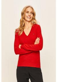 Czerwony sweter TOMMY HILFIGER casualowy, na co dzień