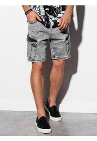 Ombre Clothing - Krótkie spodenki męskie jeansowe W220 - szare - XL. Okazja: na co dzień. Kolor: szary. Materiał: jeans. Długość: krótkie. Sezon: wiosna, lato. Styl: casual