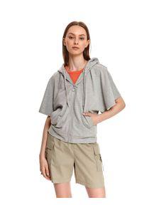 TOP SECRET - Rozpinana bluza damska z krótkim rękawem. Kolor: szary. Długość rękawa: krótki rękaw. Długość: krótkie
