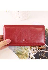 Krenig - Skórzany portfel damski KRENIG Classic 12087 czerwony w pudełku. Kolor: czerwony. Materiał: skóra