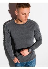Ombre Clothing - Sweter męski bawełniany E180 - grafitowy - XXL. Kolor: szary. Materiał: bawełna. Styl: klasyczny