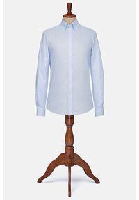 Lancerto - Koszula Błękitna Lniana Hampshire. Typ kołnierza: button down. Kolor: niebieski. Materiał: len. Wzór: ze splotem. Styl: vintage