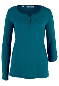 Shirt bawełniany z plisą guzikową, długi rękaw bonprix niebieskozielony morski. Typ kołnierza: dekolt w serek. Kolor: niebieski. Materiał: bawełna. Długość rękawa: długi rękaw. Długość: długie