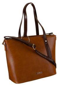 Shopper damski brązowy Nobo NBAG-K3670-C017. Kolor: brązowy. Wzór: gładki. Materiał: skórzane. Styl: elegancki
