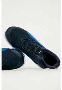 Niebieskie buty zimowe Puma na rzepy, z cholewką, z okrągłym noskiem