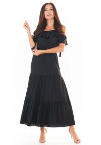 Czarna sukienka wizytowa Awama maxi