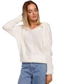MOE - Nierozpinany Sweter z Kapturem - Ecru. Typ kołnierza: kaptur. Materiał: akryl, poliamid