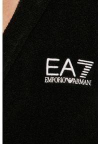 Czarny szlafrok EA7 Emporio Armani z kapturem