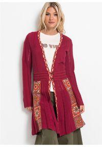 Czerwony sweter bonprix długi, z aplikacjami