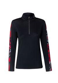 Czarny sweter Descente krótki, z nadrukiem, elegancki