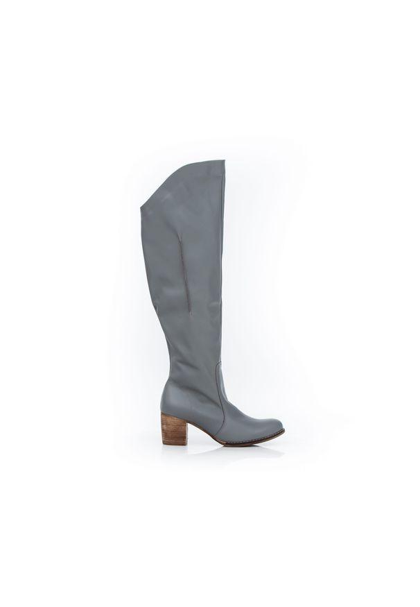 Szary kozaki Zapato z cholewką za kolano, wąskie, w kolorowe wzory
