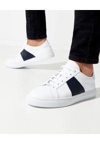 Baldinini - BALDININI - Białe sneakersy z plecionką. Zapięcie: sznurówki. Kolor: biały. Wzór: gładki