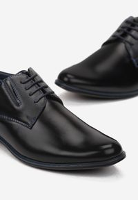 Born2be - Czarno-Niebieskie Półbuty Evitheme. Nosek buta: okrągły. Zapięcie: sznurówki. Kolor: czarny. Materiał: skóra, materiał. Szerokość cholewki: normalna. Obcas: na obcasie. Styl: klasyczny, elegancki. Wysokość obcasa: niski #3