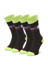 Tommy Jeans - Zestaw 2 par wysokich skarpet unisex TOMMY JEANS - 100000398 Black/Yellow 010. Kolor: czarny. Materiał: elastan, poliamid, bawełna, materiał