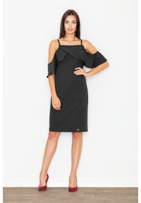 Czarna sukienka z falbanami Figl elegancka, midi