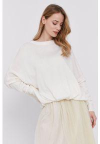 Patrizia Pepe - Sweter. Kolor: biały. Materiał: dzianina. Długość rękawa: długi rękaw. Długość: długie